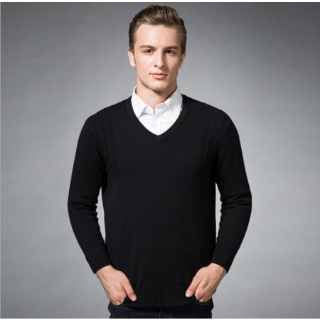 2016秋季新款男士针织衫长袖男式羊毛衫中老年毛衣V领男装毛衫