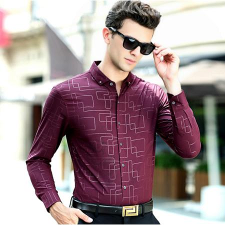 2016秋季新款男式长袖衬衫 男士印花格纹修身衬衫男衬衣