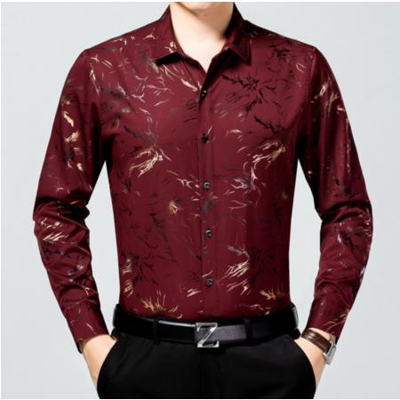 2016秋季新款男士衬衫长袖 男式衬衣图案修身翻领男装