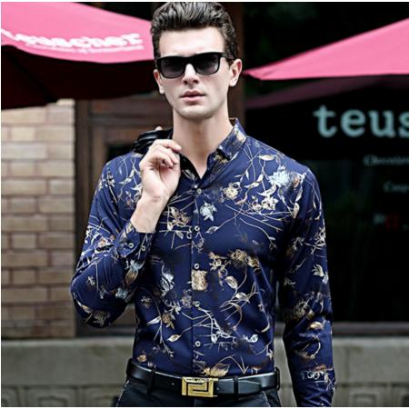 2016秋季新款印花男式长袖衬衫 时尚男装衬衫 男士韩版衬衣