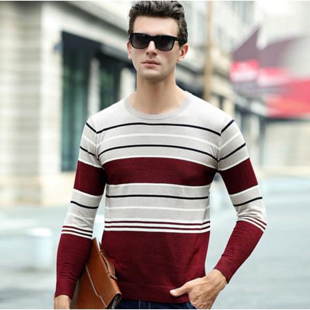 2016年秋季新款男式针织衫 长袖条纹拼色圆领男士时尚男装线衫