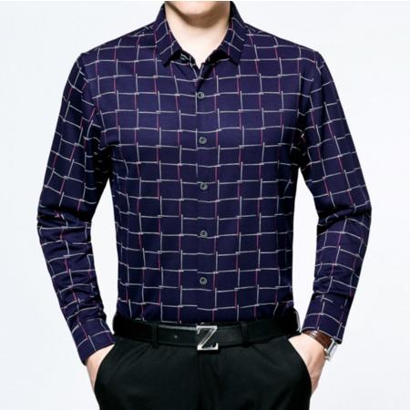 2016秋季新品男式衬衫长袖男士衬衣格子翻领开衫男装