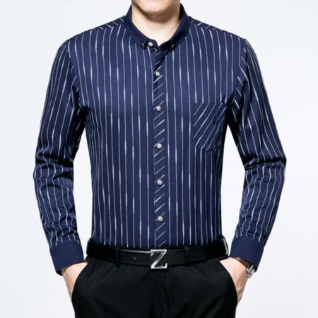 2016秋季新款男士衬衫条纹男式衬衣长袖翻领中年男装