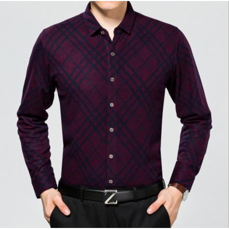 2016秋季新款长袖 男士衬衣 男式衬衫商务 经典格纹休闲男装衬衫