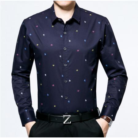 2016新款秋季男士衬衣翻领男式衬衫长袖图案开衫男装