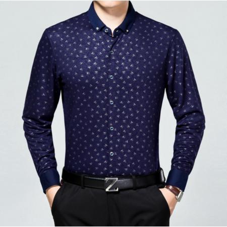 2016秋季新款男士衬衫长袖 男式衬衣翻领图案休闲男装