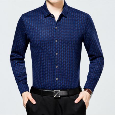 2016秋季新款男士长袖衬衫 男式格子衬衫 商务男装翻领中年