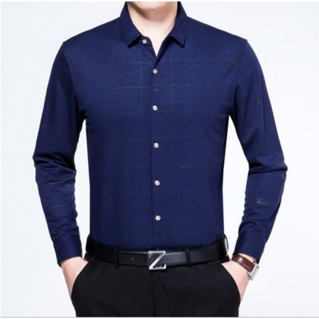2016秋季雅希特新款男式衬衫纯色休闲修身舒适长袖立领