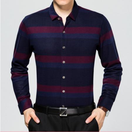 2016秋季新款男士长袖衬衫 男式衬衣中年休闲男装条纹衬衫寸