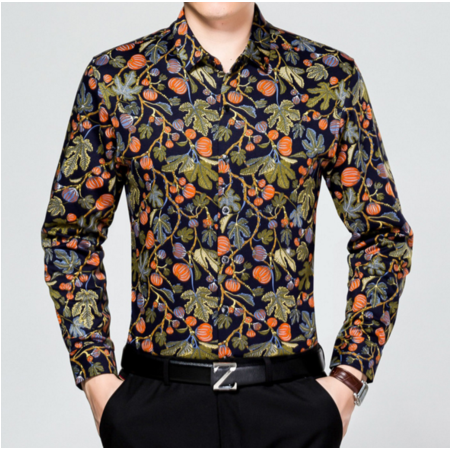 2016秋季新款男式长袖衬衫男士翻领衬衣休闲中年男装