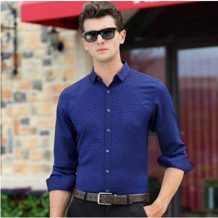 2016秋季新款男式长袖衬衫 小碎花男士衬衫 时尚商务男装
