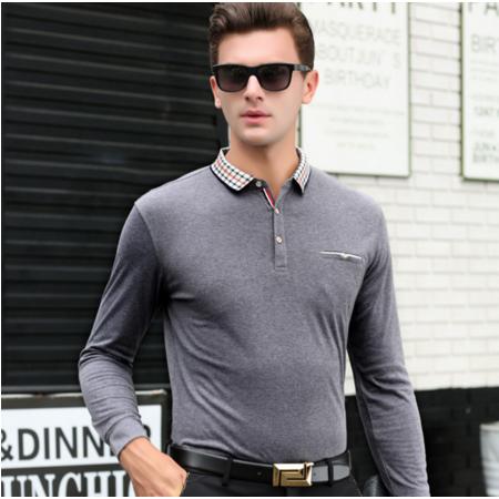 2016秋季新款男式t恤长袖男士针织衫T恤男中年套头男装