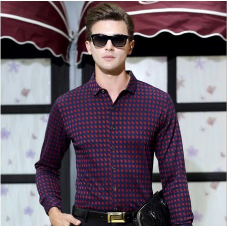2016男式衬衫秋装新款 高档棉衬衫长袖免烫衬衣商务男衬衫