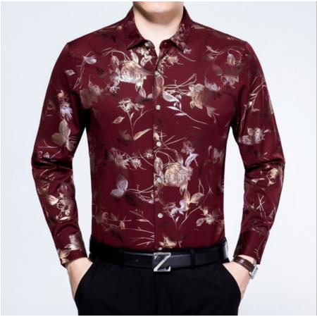 2016秋季新品长袖衬衫男式休闲印花翻领舒适潮流修身普通款中年