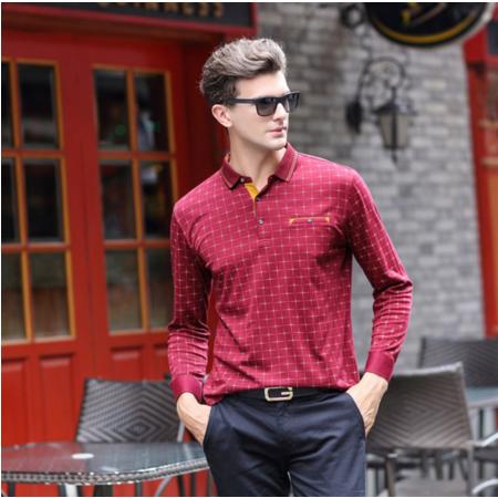 2016秋季新款男装中年长袖t恤图案休闲舒适潮流正品男装