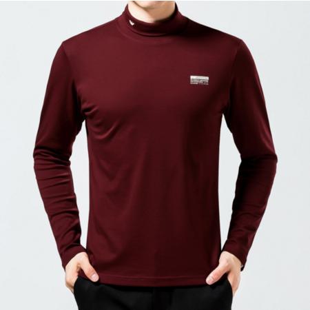 2016秋冬新款男士高领T恤衫 长袖男式纯色百搭打底衫 时尚男装
