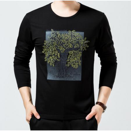 2016男装新款男士t恤 长袖男式印花莫代尔棉T恤 青年男装时尚韩版