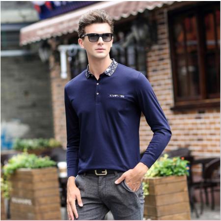 2016秋季新品中年男士长袖翻领T恤男装修身打底衫商务休闲舒适