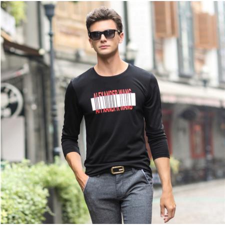 2016秋季新款男式t恤男士长袖T恤圆领青年时尚男装