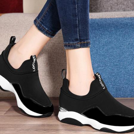 运动鞋女韩版跑步鞋黑色休闲鞋古奇天伦2016秋季新款百搭气垫单鞋