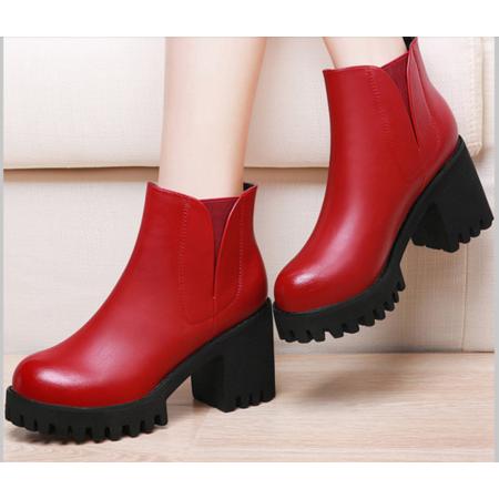 马丁靴女英伦风短靴圆头防水台粗跟短筒古奇天伦2016秋季新款女靴
