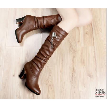 长靴女秋冬粗跟靴子女2016新款古奇天伦女鞋长筒靴过膝靴高跟