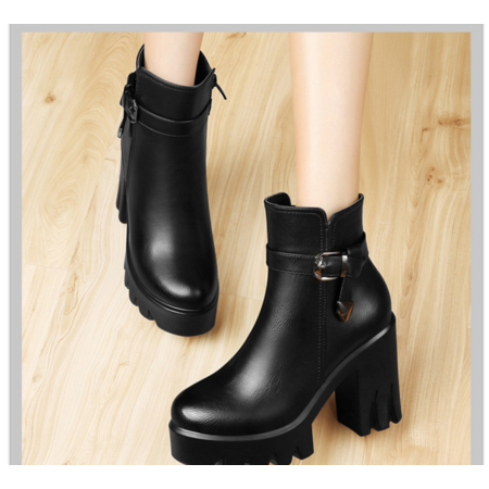 短靴女秋单靴粗跟高跟鞋女秋鞋2016新款马丁靴女英伦风及踝靴女