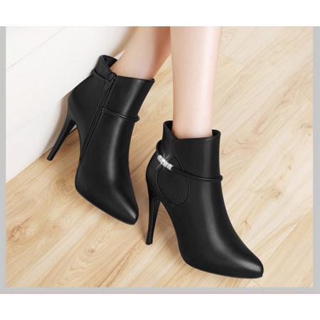短靴女单靴尖头2016秋季新款靴子女细跟高跟裸靴皮靴