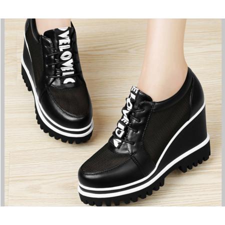 2016坡跟单鞋女秋季舒适高跟鞋韩版圆头厚底鞋女鞋黑色休闲鞋