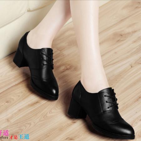 中跟单鞋女粗跟女鞋秋鞋2016新款黑色舒适圆头百搭红色防水台潮鞋