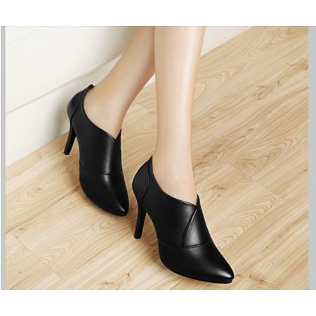黑色高跟鞋女细跟职业单鞋2016秋季新款优雅尖头工作鞋潮