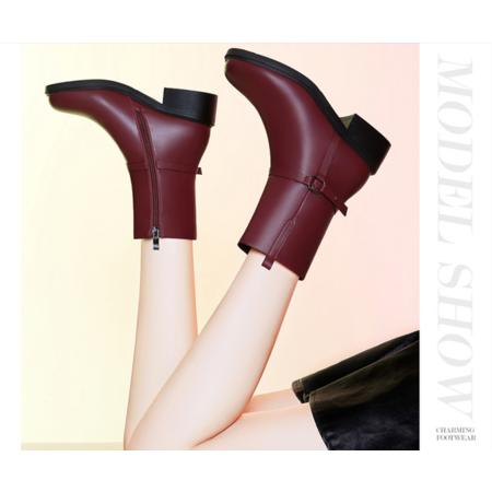 马丁靴女英伦风2016秋冬新款中跟短靴粗跟防水台时尚女靴