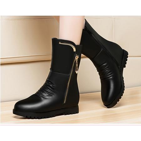 2016秋冬新品女鞋马丁靴潮女短靴内增高平底女靴侧拉链中筒靴