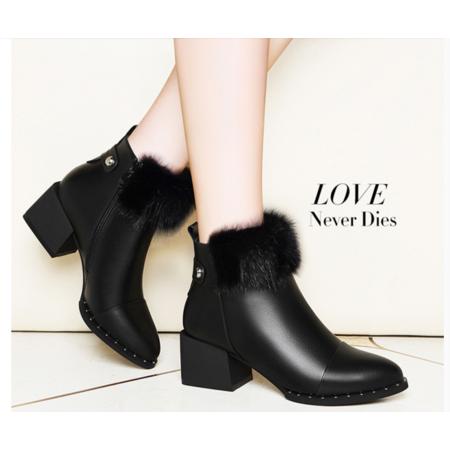 2016短靴粗跟马丁靴英伦风短皮靴子冬季新款女短靴防水台时尚潮女单靴