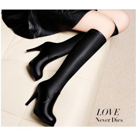 2016女靴细跟长筒靴秋冬新款黑色套筒女长靴英伦风高跟防水台女鞋子潮