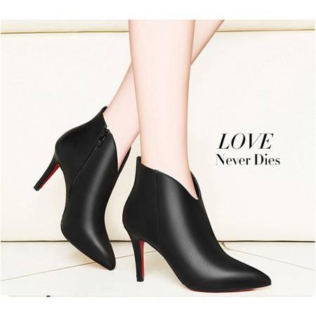 女鞋2016秋季新款女靴尖头细跟女短靴英伦风高跟单靴黑色高跟鞋女