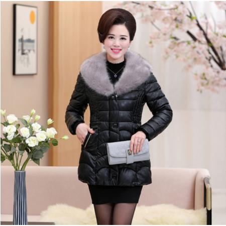 2016中老年冬款女装收腰保暖气质棉衣大毛领皮衣外套时尚妈妈装
