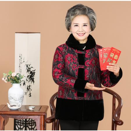 2016冬款新款中老年妈妈装大码棉服奶奶装印花宽松唐装棉衣