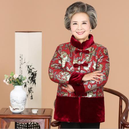 2016老年棉衣中式唐装加绒外套60-80岁大码女士奶奶装立领保暖棉服