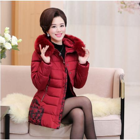2016中老年女装冬季连帽毛领棉衣40-60妈妈装宽松大码棉服爆款
