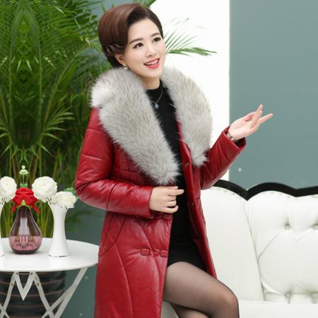 2016冬款新款中老年女装中长款毛领棉服妈妈装修身皮棉衣