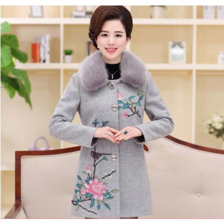 2016新款中老年毛呢外套韩版翻领女装刺绣大码妈妈装呢大衣毛领可拆
