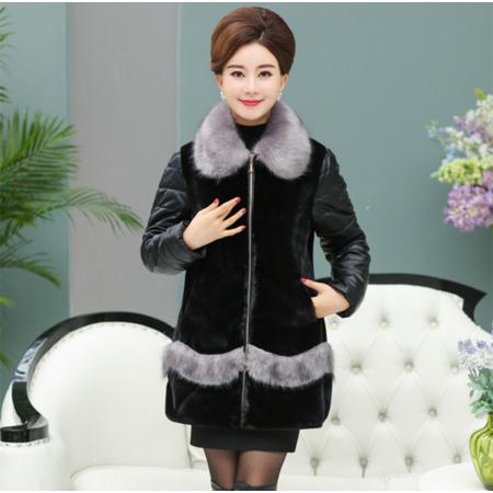 2016中老年女冬装外套女士PU皮棉衣棉服中长款大码保暖妈妈装上衣