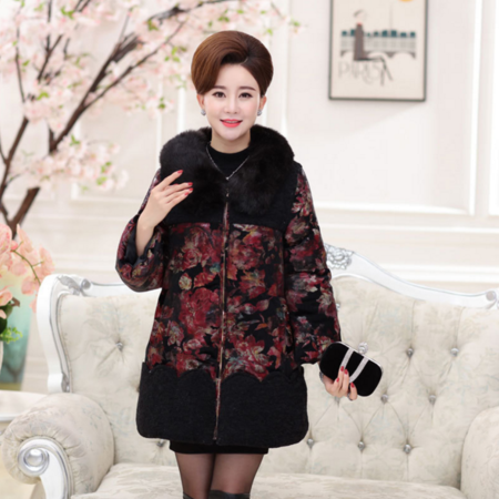 2016冬款新款中老年妈妈装毛领中长款棉服女装花色棉衣