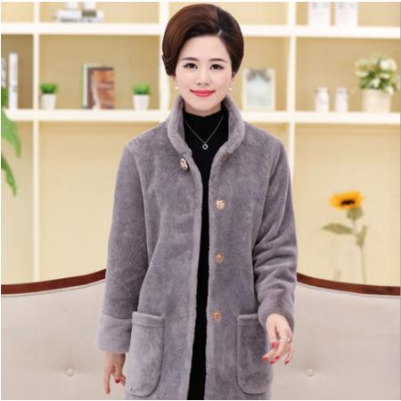 2016冬季新款仿羊剪毛皮草大衣中老年妈妈装中长款大码大衣