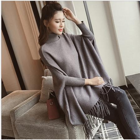 韩版蝙蝠袖中长款流苏斗篷高领针织衫套头毛衣
