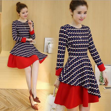 新款冬装 撞色圆领波浪印花修身拼接连衣裙
