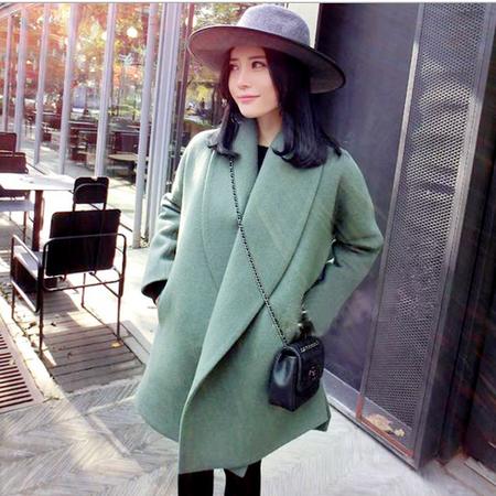 秋冬新款欧美风宽松中长款纯色呢子大衣 斗篷型外套女加厚