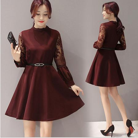 秋冬韩版新款拼接连衣裙子女 系带收腰显瘦打底裙子