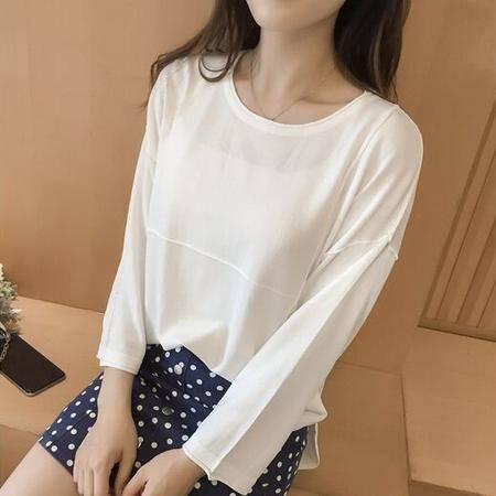 针织衫女套头2016韩版宽松开叉长袖打底衫薄款毛衣